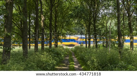 Dutch train passing by on a not secured railway crossing near Ellecom in the Netherlands - stock photo