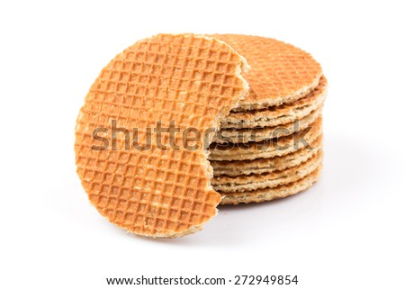 Dutch waffle isolated on a white background