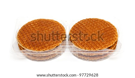 Dutch Waffles in a plastic box isolated on white background - stock photo