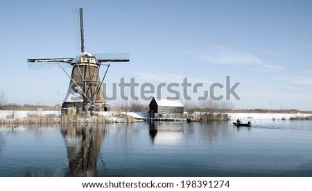 Dutch windmill in the Kinderdijk area, Holland  - stock photo