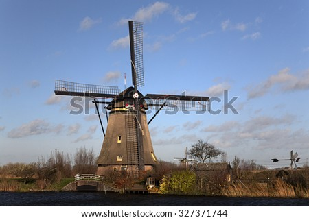 Dutch windmill of Unesco World Heritage Site Kinderdijk, South Holland, Netherlands
