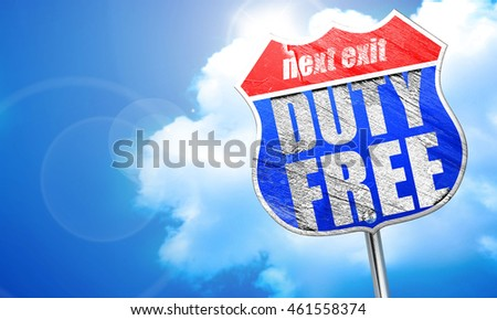 duty free, 3D rendering, blue street sign