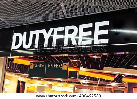 Duty Free shopping at the airport  - stock photo