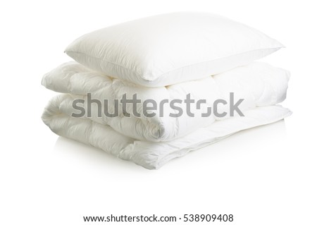 Duvet White blanket and pillow isolated on white background