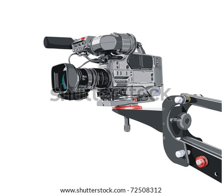 dv-cam camcorder on crane - stock photo