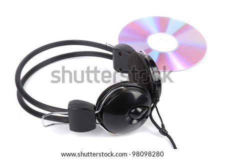 DVD and headphone - stock photo