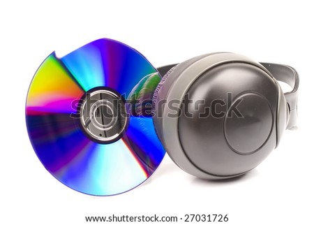 DVD and Headphone on white background .