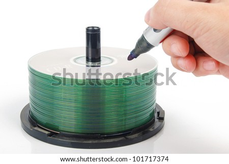 DVD and mark pen - stock photo