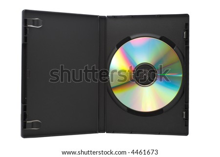 DVD Box with a DVD. Isolated on white background.
