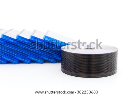 DVD box with disc on white background - stock photo