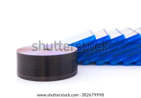 DVD/CD box with disc on white background - stock photo