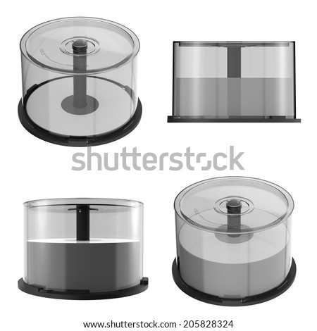 DVD CD Stack case plastic spindle closed,isolated on white background. Easy editable for your design.  - stock photo