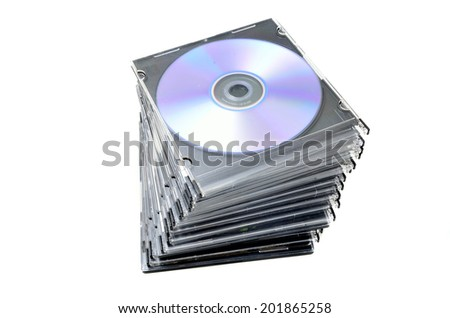 DVD covers on white background - stock photo