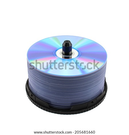 DVD disc tower on white isolated - stock photo