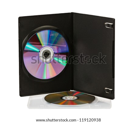 DVD disks in boxes on a white background