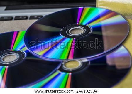 DVD drive on laptop computer.