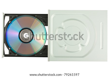 DVD drive with disk, top view, isolated on white background