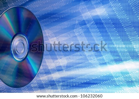 DVD on an abstract background of binary numbers, simulating a data flow - stock photo