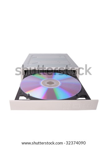 DVD-RW drive with disk over white