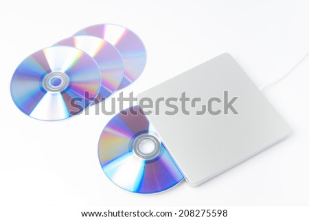 DVD writer with disc - stock photo