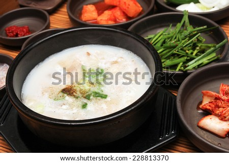 Dwaeji Gukbap - Pork Soup Rice, a popular dish in Busan, Korea - stock photo