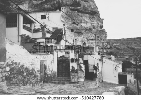 Dwelling  houses built into rock. Alcala del Jucar.  Province of Albacete, Castile-La Mancha,  Spain