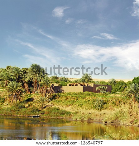 Dwelling on the banks of the River Nile, Africa, Egypt