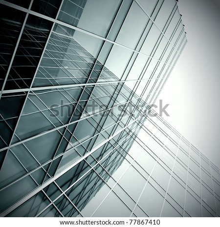dwelling place of glassy black business building - stock photo