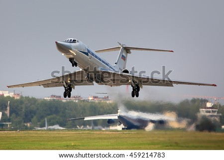 DYAGILEVO, RYAZAN, RUSSIA - JULY 15, 2016: Tupolev Tu-134UB-K RF-93938 special plane for bomber crew training taking off at Dyagilevo airfield.