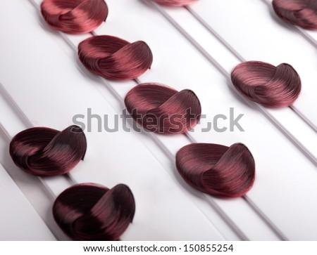 dyed locks of hair - stock photo