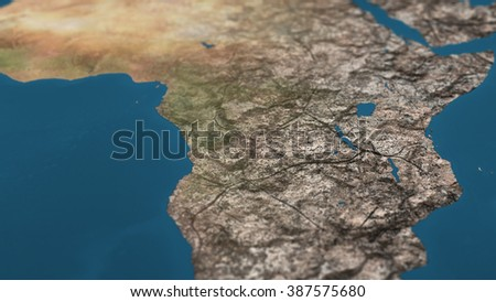 Dying Earth Global Warming Heavy Pollution Affected and Dried Africa Illustration - stock photo