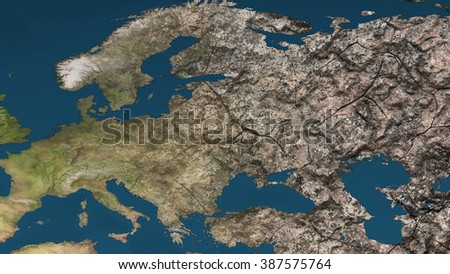 Dying Earth Global Warming Heavy Pollution Affected and Dried Europe Illustration - stock photo