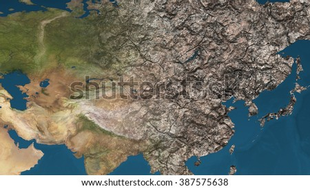 Dying Earth Global Warming Heavy Pollution Affected and Dried Far East Asia Illustration - stock photo