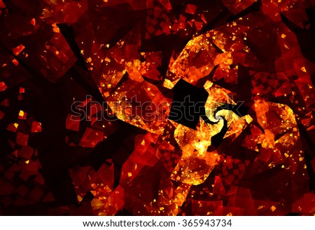 Dynamic and passionate abstraction with spectacular elements. The texture is like a gold inlay with mirrored reflections of light on a red background.It sends a festive mood.