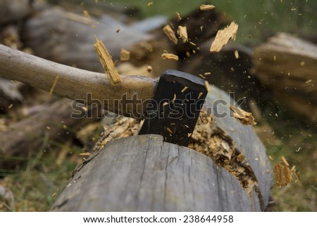 Dynamic Axe Cutting Wood - stock photo