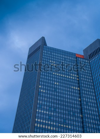 Dynamic business buildings in Frankfurt, Germany.