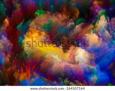 Dynamic Color series. Abstract composition of Colorful fractal clouds and graphic elements suitable as element in projects related to forces of nature, art, design and creativity