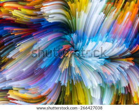 Dynamic Color series. Abstract composition of streams of paint suitable as element in projects related to forces of nature, art, design and creativity - stock photo