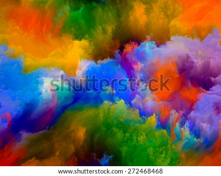 Dynamic Color series. Arrangement of Colorful fractal clouds and graphic elements on the subject of forces of nature, art, design and creativity