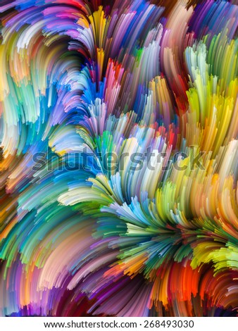 Dynamic Color series. Arrangement of streams of paint on the subject of forces of nature, art, design and creativity - stock photo