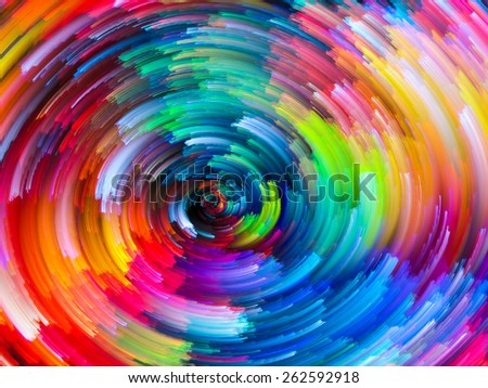 Dynamic Color series. Composition of Colorful fractal clouds and graphic elements on the subject of forces of nature, art, design and creativity - stock photo
