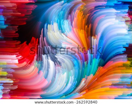 Dynamic Color series. Visually attractive backdrop made of Colorful fractal clouds and graphic elements suitable as element for layouts on forces of nature, art, design and creativity - stock photo
