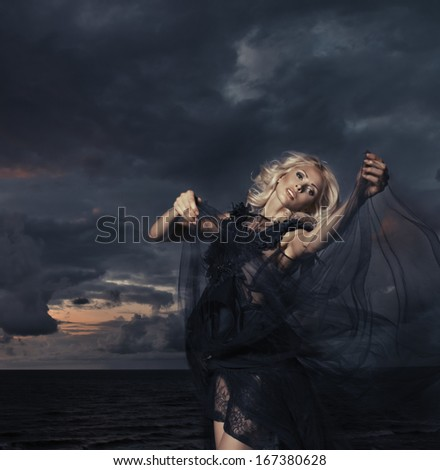 Dynamic image of a beautiful woman   - stock photo