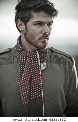 Dynamic image of a handsome male model