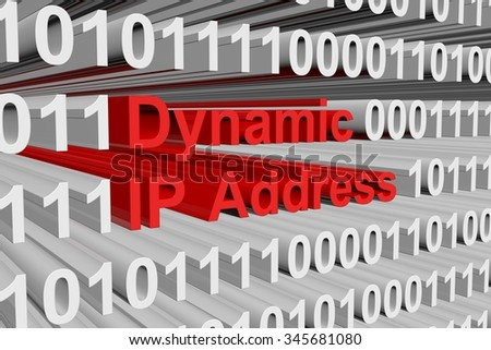 Dynamic IP Address is represented as a binary code - stock photo