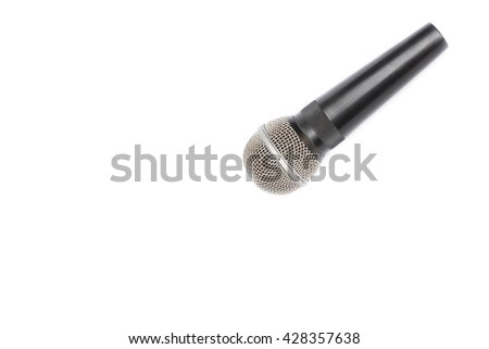 Dynamic  mic in Studio recording  On a white background - stock photo