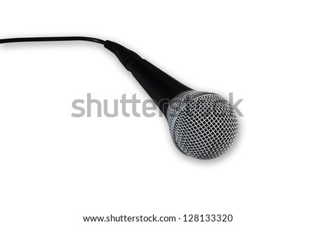 Dynamic microphone isolated on white. Clipping path included.