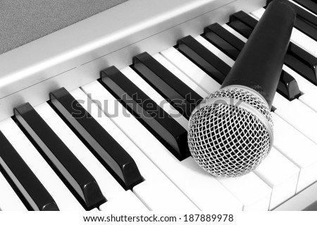 Dynamic Microphone on The Piano, B&W film processed - stock photo