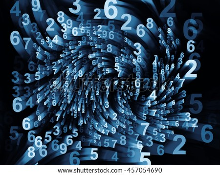 Dynamic Number series. Abstract design made of digital symbols and motion trails on the subject of science, technology and education - stock photo