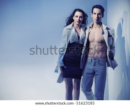 Dynamic photo of a sexy couple - stock photo